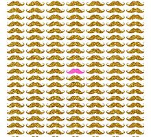 Funny pink faux gold glitter mustaches pattern Photographic Print