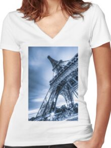 Eiffel Tower 4 Women's Fitted V-Neck T-Shirt