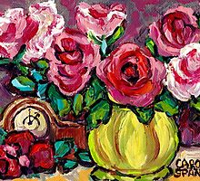 BEAUTIFUL FLORAL STILL LIFE ROSES WITH CLOCK ORIGINAL PAINTING FOR SALE by Carole  Spandau