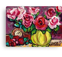 BEAUTIFUL FLORAL STILL LIFE ROSES WITH CLOCK ORIGINAL PAINTING FOR SALE Canvas Print