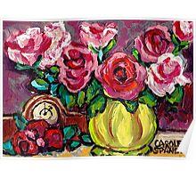 BEAUTIFUL FLORAL STILL LIFE ROSES WITH CLOCK ORIGINAL PAINTING FOR SALE Poster