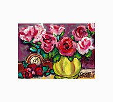 BEAUTIFUL FLORAL STILL LIFE ROSES WITH CLOCK ORIGINAL PAINTING FOR SALE Unisex T-Shirt