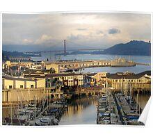 San Francisco Wharf and Golden Gate Bridge Poster