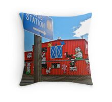 Police station sign Throw Pillow