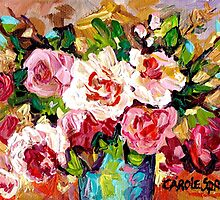 ORIGINAL PAINTING FOR SALE COLORFUL ROSESIN A BLUE VASE by Carole  Spandau