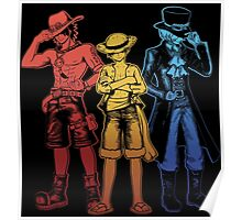 One Piece Brothers - red/yellow/blue Poster