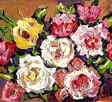FLORAL BOUQUET OF ROSES COLORFUL ORIGINAL PAINTINGS FOR SALE by Carole  Spandau