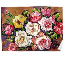 FLORAL BOUQUET OF ROSES COLORFUL ORIGINAL PAINTINGS FOR SALE Poster
