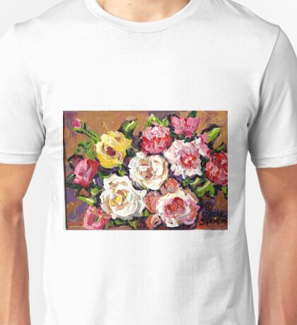 FLORAL BOUQUET OF ROSES COLORFUL ORIGINAL PAINTINGS FOR SALE Unisex T-Shirt