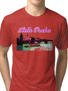 Beautiful praha castle& bridge art Tri-blend T-Shirt