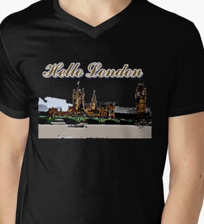 Beautiful London Bigben& Thames river art Mens V-Neck T-Shirt