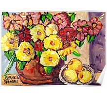 YELLOW FLOWERS WITH PEARS BEAUTIFUL AND ORIGINAL FLORAL  Poster
