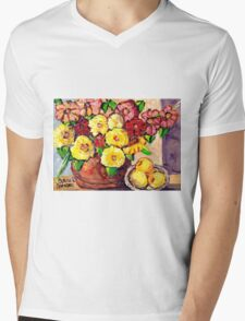 YELLOW FLOWERS WITH PEARS BEAUTIFUL AND ORIGINAL FLORAL  Mens V-Neck T-Shirt