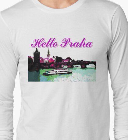Beautiful Praha castle and karls bridge art Long Sleeve T-Shirt