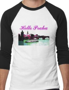 Beautiful Praha castle and karls bridge art Men's Baseball ¾ T-Shirt