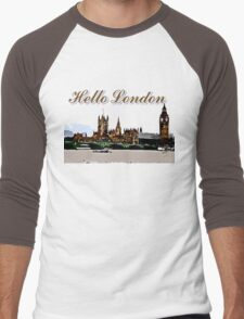 Beautiful London Bigben& Thames river art Men's Baseball ¾ T-Shirt