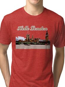 Beautiful London Bigben& Thames river art Tri-blend T-Shirt