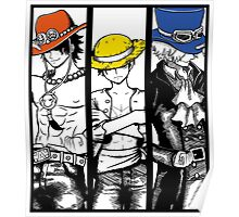One Piece Brothers - colored hats Poster