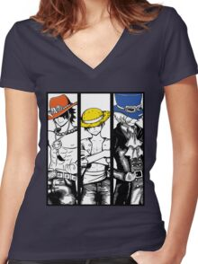One Piece Brothers - colored hats Women's Fitted V-Neck T-Shirt