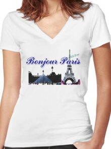 Beautiful architecture Luvoure museum ,Effel tower Paris france graphic art Women's Fitted V-Neck T-Shirt