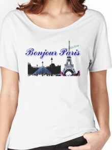 Beautiful architecture Luvoure museum ,Effel towerParis france graphic art Women's Relaxed Fit T-Shirt