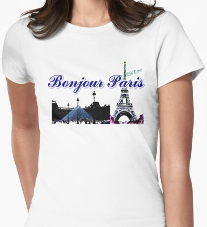 Beautiful architecture Luvoure museum ,Effel towerParis france graphic art Womens Fitted T-Shirt
