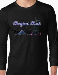 Beautiful architecture Luvoure museum,Effel tower  Paris france graphic art Long Sleeve T-Shirt