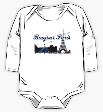 Beautiful Effel tower& Luvoure museum Paris france graphic art One Piece - Long Sleeve