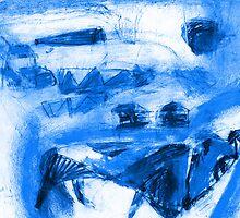 blue dog in the yard by Shylie Edwards