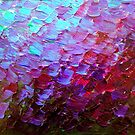 MERMAID SCALES Colorful Ombre Abstract Acrylic Impasto Painting Violet Purple Plum Ocean Waves Art by EbiEmporium