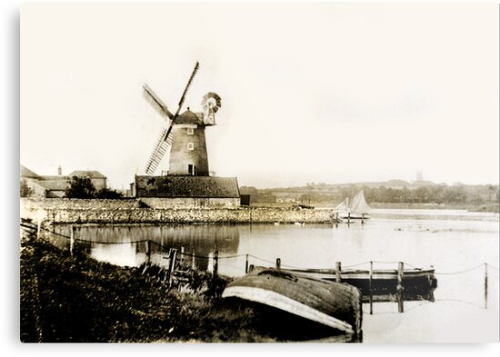 Cley Windmill marsh tide 1900 by cleywindmill