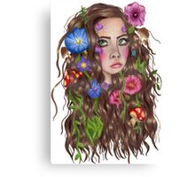 I wish I was a forest fae with flowers in my hair Canvas Print