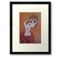Woman in mirror Framed Print