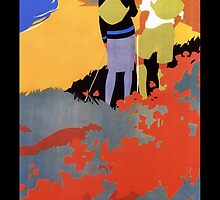 Art Deco Pacific Crest Trail hiking vintage travel poster by Glimmersmith