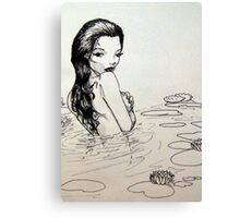 black and wight woman in lake Canvas Print