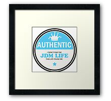 Authentic jdm life found me badge - Light blue Framed Print