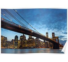 Manhattan by night from Brooklyn, New York City Poster