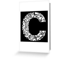 The Letter C, black background Greeting Card