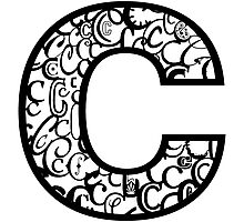 The Letter C, white background Photographic Print