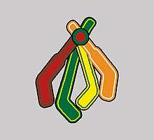 Blackhawks Feathers as hockey sticks by coach-qs-stache