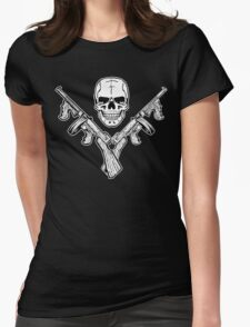 Skull and Tommy Guns Womens Fitted T-Shirt