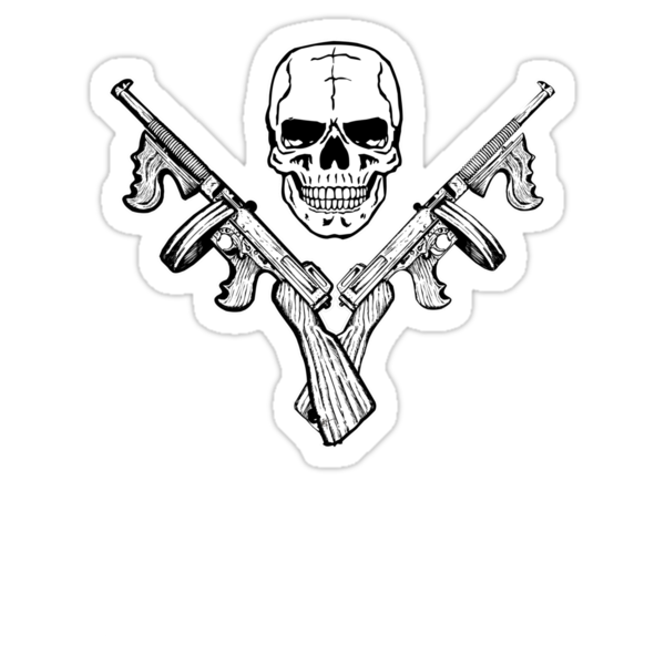 Skull and Tommy Guns by ZugArt