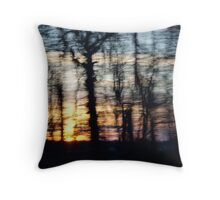 Abstract forest sunset Throw Pillow
