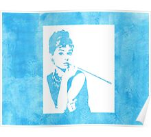 Audrey Hepburn Breakfast at Tiffany's Watercolour Blue   Poster