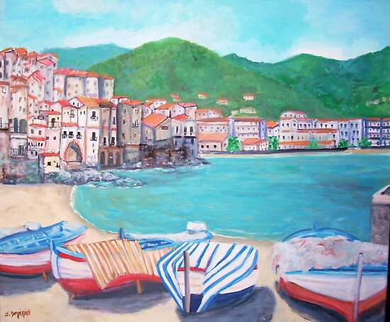 Beach at Old port & Porta Pescara in Cefalu by Teresa Dominici