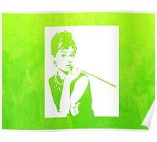 Audrey Hepburn Breakfast at Tiffany's Watercolour Green  Poster