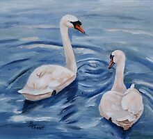 Simply Swans Original Oil Painting by Brenda Thour