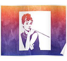 Audrey Hepburn Breakfast at Tiffany's Watercolour Purple  Poster