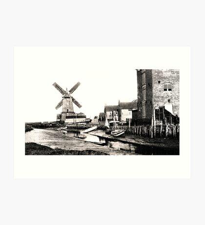 Cley Windmill sea port 1880s Art Print