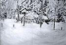 Log Cabin in the Snow by Diane  Kramer